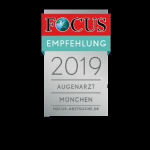 Focus Empfehlung 2019 für Dr. Amir-Mobarez Parasta, Augenarzt München