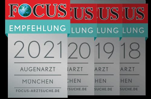 Focus Empfehlung Augenarzt Dr. Parasta München, 2021